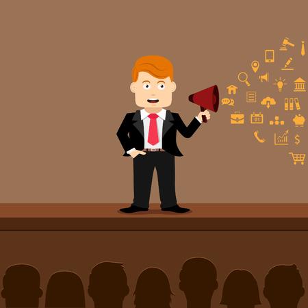 good cheer: Businessman shouting in a megaphone Illustration
