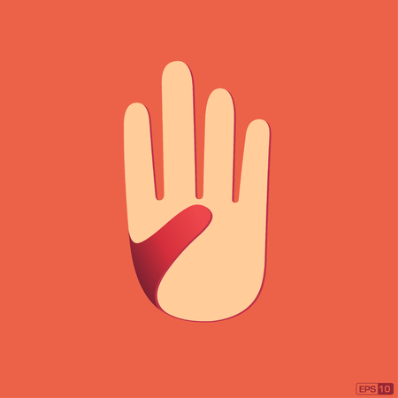 one person only: Open hand  isolated Illustration