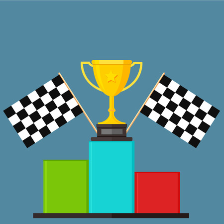 triunfador: Ganador, Bandera Chequer, Podio, Victoria Stand - Ilustración