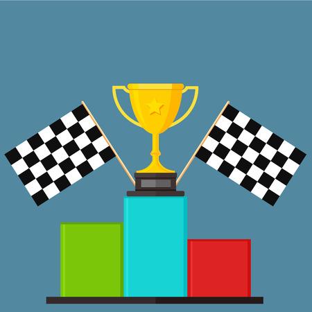 winner: Winner, Chequer Flag, Podium, Victory Stand - Illustration Illustration