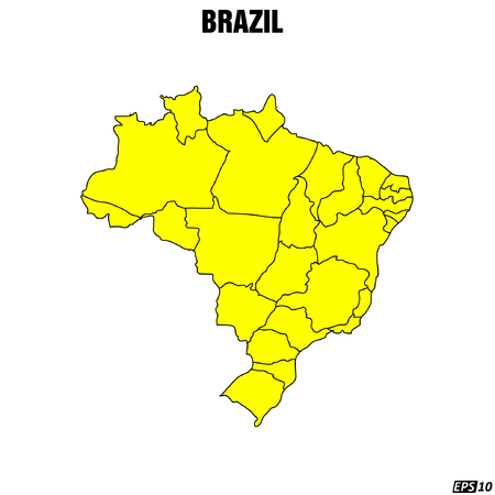 workings: Map of Brazil - Vector Illustration