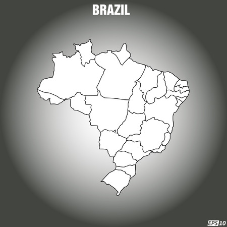 physical geography: Map of Brazil - Vector Illustration