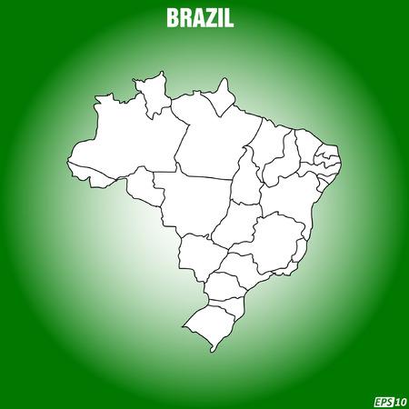 workings: Map of Brazil - Vector Illustration