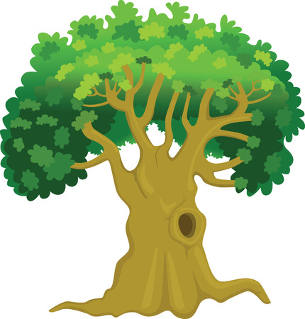 solitary: Oak Tree - Stock Image Illustration