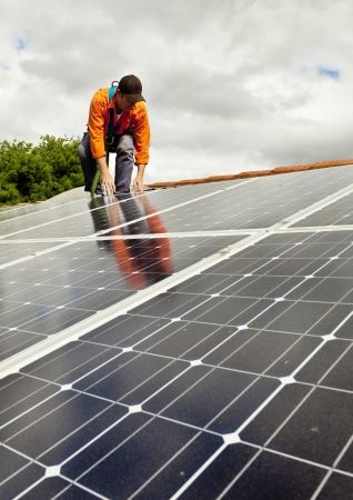 harness: Electrician checking solar panels