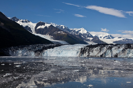 fjords: Ice melting from glacier in College Fjord Stock Photo