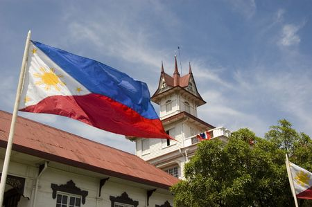 philippine: Philippine flag in front of Gen. Emilio Aguinaldos shrine in Cavite, Philippines