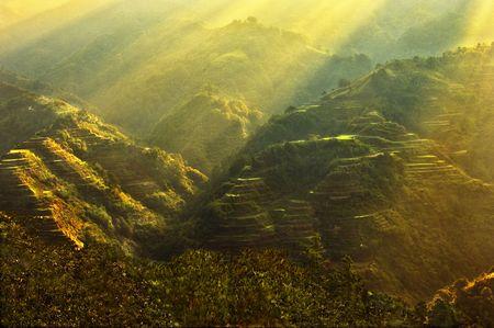 feat: Salida del sol en Banaue Foto de archivo