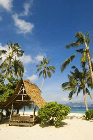 Nipa Hut and coconut trees along a white sand beach Stock Photo - 2237554