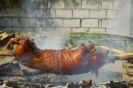 broiling: Philippine Roast Pig, a favorite in the country Stock Photo