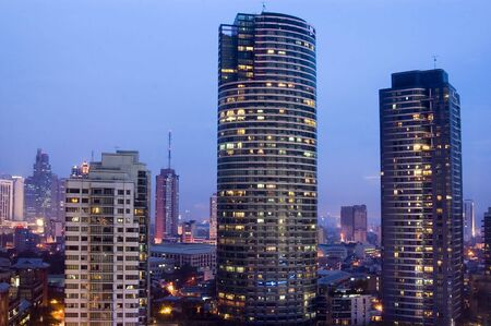 One of Metro Manilas business and commercial districts at night photo