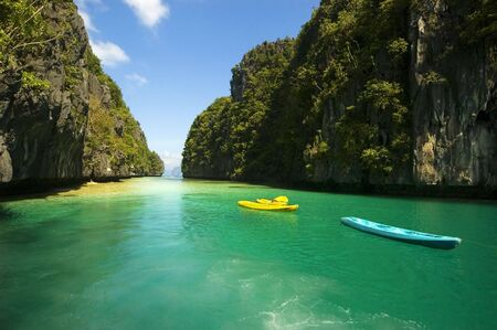Kayaks in the big lagoon of El Nido, Palawan, Philippines