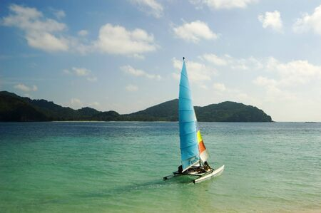 hobie: Hobie Cat leaves shore, Palawan, Philippines