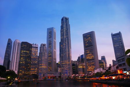 Night skyline of Singapores business district photo