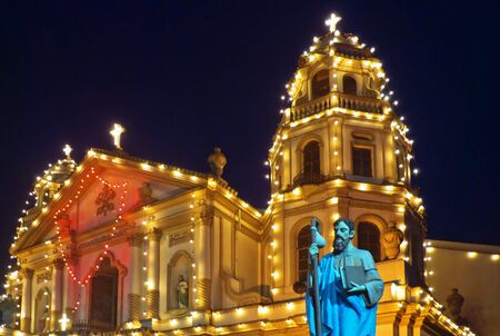Skyline of business and commercial district at nightThe famous Quiapo Church in Manila, Philippines