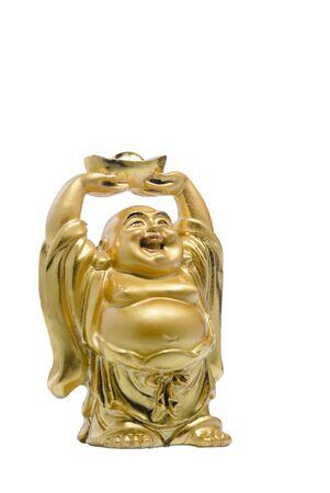 Laughing Bhudda holding up wealth on white background photo