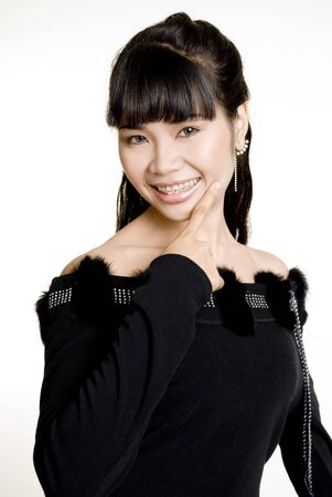 filipina: Asian woman against white background