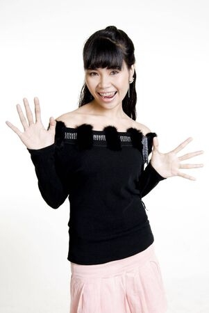 Surprised Asian woman against white background photo