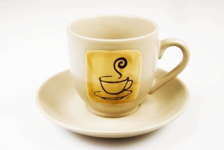 whote: Coffee cup and sauceragainst whote background Stock Photo