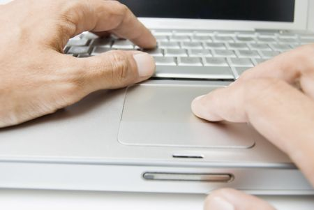 Male's hands on computer keyboard Stock Photo - 3332148