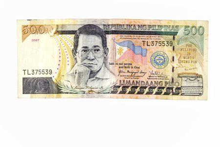 Closeup of 500-peso bills on white background Stock Photo
