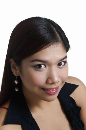 filipina: Young Asian female posing; shot against white background