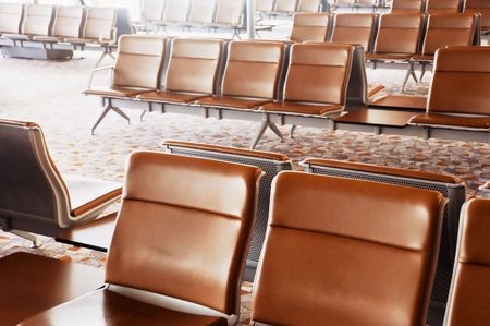 unoccupied: Unoccupied seats in an airports waiting lounge