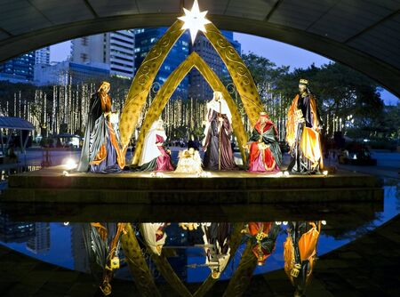 Nativity scene with the Three Kings in Makati City, Philippines photo
