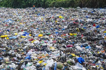 Woman scavenges in a sea of trash for recyclable items that she can sell