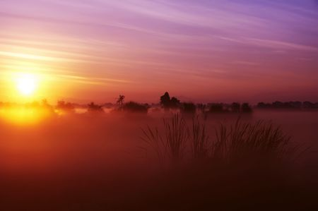 sunup: The colors of sunrise on a countryside field