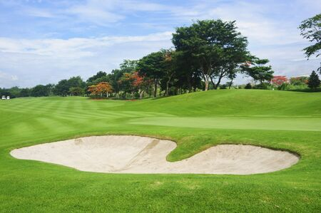 trees photography: Sand trap in a beautiful golf course in the Philippines