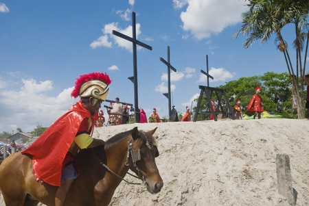 penitence: Participant in the Senakulo in Cutud, San Fernando, Pampanga in the Philippines where they dramatize the Passion of Jesus Christ.  The event is highlighted by live crucifixions of men. This is an annual Holy Week ritual in Barangay Cutud, San Fernando, Pa