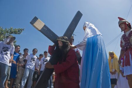 Participant in the Senakulo in Cutud, San Fernando, Pampanga in the Philippines where they dramatize the Passion of Jesus Christ.  The event is highlighted by live crucifixions of men. This is an annual Holy Week ritual in Barangay Cutud, San Fernando, Pa Stock Photo - 10003657