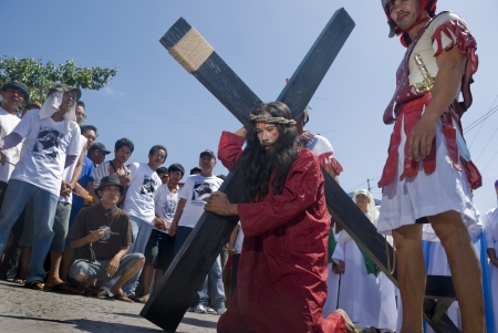 Participant in the Senakulo in Cutud, San Fernando, Pampanga in the Philippines where they dramatize the Passion of Jesus Christ.  The event is highlighted by live crucifixions of men. This is an annual Holy Week ritual in Barangay Cutud, San Fernando, Pa Stock Photo - 10003674