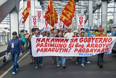 demanded: Thousands of Filipinos from different sectors and religions marched to Liwasang Bonifacio in Manila and demanded the resignation of President Gloria Macapagal Arroyo following the revelations of star witness Jun Lozada about alledged kickbacks of top offi
