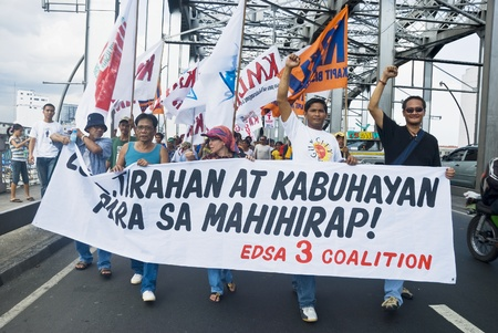 gloria: Thousands of Filipinos from different sectors and religions marched to Liwasang Bonifacio in Manila and demanded the resignation of President Gloria Macapagal Arroyo following the revelations of star witness Jun Lozada about alledged kickbacks of top offi