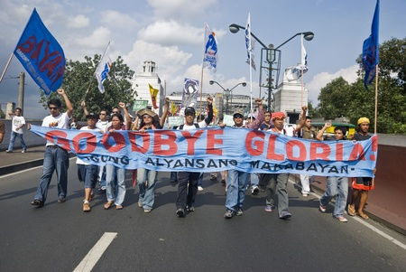 arroyo: Thousands of Filipinos from different sectors and religions marched to Liwasang Bonifacio in Manila and demanded the resignation of President Gloria Macapagal Arroyo following the revelations of star witness Jun Lozada about alledged kickbacks of top offi