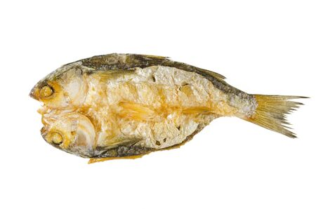 Dried and salted fish on white backgroound Stock Photo
