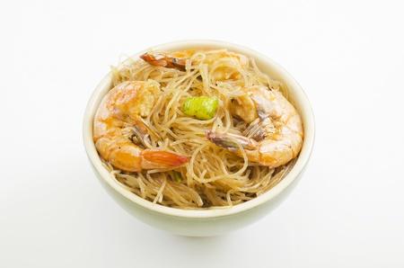 Close up of pansit bihon, a Filipino noodle dish