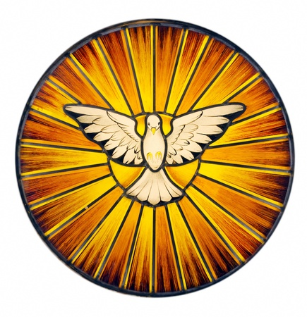 Stained glass depicting the symbol of the Holy Spirit