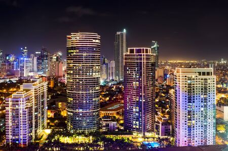 Night shot of skyline of Makati, Philippines Stock Photo - 11365724