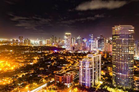Night shot of skyline of Makati, Philippines