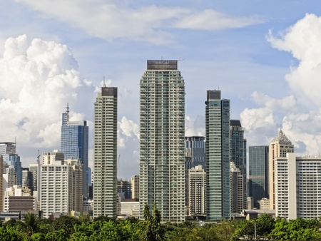 Makati skyline shot against blue sky and clouds