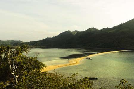 orange snake: Tourists in Snake Island in El Nido Resort, Palawan, Philippines