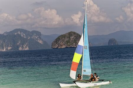hobie: Tourists in Hobie Cat, El Nido, Philippines Editorial