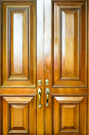 Full Shot Of Two Heavy Wooden Doors Of An Old Residential ...