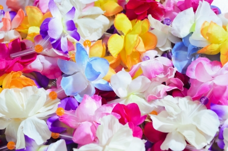 hawaiian lei: Close-up of garlands of flowers made of cloth