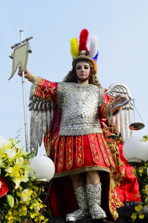 lucifer: Statue of St. Michael, the Archangel who defeated Lucifer Stock Photo