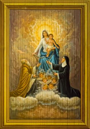 16 世紀の絵画赤ちゃんイエスと聖母マリアの Sta モニカーとセント オーガスティン フィリピンのシスティーナ礼拝堂として呼ばれたフィリピン教会 報道画像