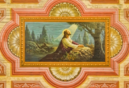 16th century painting on a church ceiling depicting Jesus in the Garden of Gethsemane. Editorial